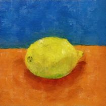 Lemon with Blue and Orange von Michelle Calkins