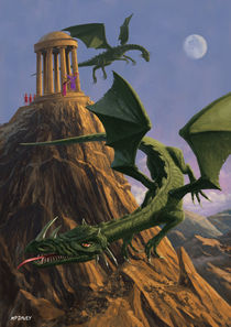 Dragons flying around a temple on mountain top  by Martin  Davey