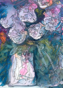 White roses in a vase by Christina Rahm