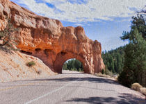 Driving Through Red Canyon -- Digital Art by John Bailey