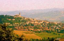 Panoramic Landscape Painting of Italian Skyline von Maggie Vlazny