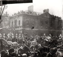 Jubilee Procession in Whitehall, 1887 (b/w photo) by Bridgeman Art