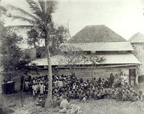 Plantation Workers on arrival from India, mustered at Depot, c.1 by Bridgeman Art