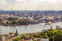 Hamburg von Oben Blick über die Elbe by Dennis Stracke