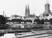 Selling wood on the River Trave, Lubeck, c1910 by Bridgeman Art