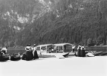 Boats at Konigssee, c.1910 (b/w photo) by Bridgeman Art