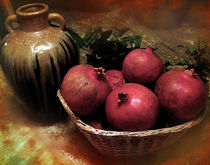 Pomegranates-basket-and-clay-jar-14x11