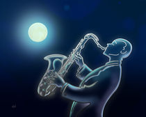 Sax O Moon by Bedros Awak