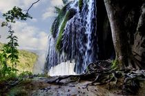 Waterfall in the National Park of Plitvice Lakes in Croatia by Helmut Schneller