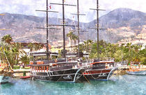 2 master boat in the Harbour (water color picture) von Helmut Schneller