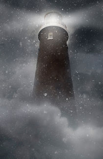 An old lighhouse with clouds and snow falling. by Jarek Blaminsky