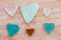 Seaglass hearts by Alex Bramwell