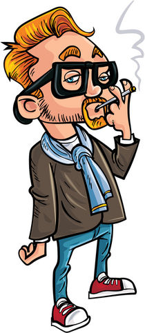 Cartoon hipster smoking a cigarette. by Anton  Brand