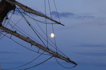 Moon shining through reefed sails on a tall ship by Intensivelight Panorama-Edition