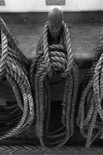 Belaying pins on a tall ship with tied ropes von Intensivelight Panorama-Edition