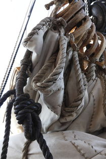 Reefed sails and hemp ropes on a tall ship - close up by Intensivelight Panorama-Edition