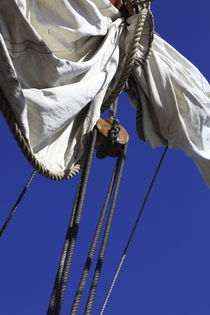 Reefed sail on a tall ship and blue sky von Intensivelight Panorama-Edition