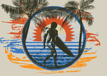Surf Summer Sun and Palm Trees and Paint Brushes von Denis Marsili