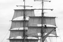 Brig sailing away - monochrome by Intensivelight Panorama-Edition
