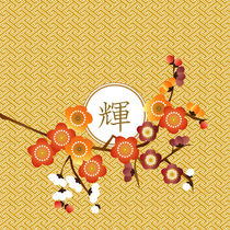 Kagayaki Radiance Japanese Ume Plum Blossoms Gold Orange by Beverly Claire Kaiya