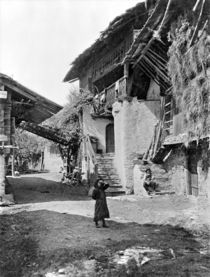 Village of Valais, early 20th century (b/w photo)  by Bridgeman Art
