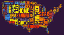 United States of America Map Star Spangled Banner Typography  by Florian Rodarte