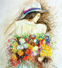 Frau mit Blumenstrauß by Irina Usova