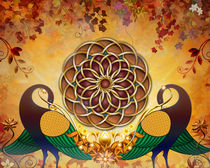 Autumn Serenade - Mandala Of The Two Peacocks von Bedros Awak