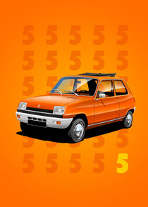 Renault 5 Poster Illustration by Russell  Wallis