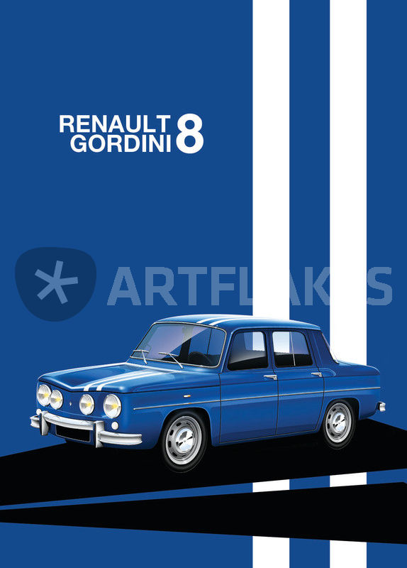 renault 8 gordini poster illustration graphic illustration art prints and posters by russell. Black Bedroom Furniture Sets. Home Design Ideas