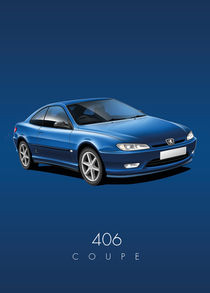 Peugeot 406 Coupe Poster Illustration by Russell  Wallis