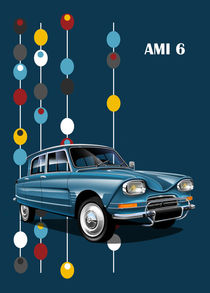 Citroen Ami 6 Poster Illustration by Russell  Wallis