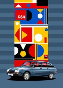 Citroen GSA Poster Illustration by Russell  Wallis