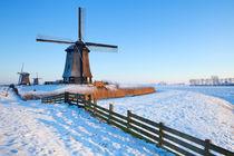 Dutch windmills in winter by Sara Winter
