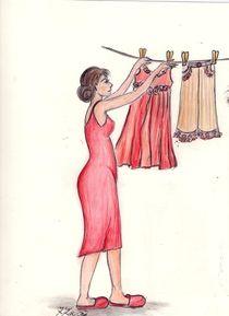 MaMamsell hängt die Wäsche auf ©KatKaciOui by Katrin KaciOui