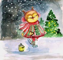 Eule, Schnee, Weihnachten, Silvester, Frohe Weihnachtszeit von Alina  Rupprecht