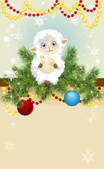 Christmas background with a little lamb  von larisa-koshkina