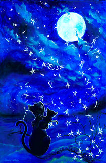 Cats and the moon by Elodie Lutz