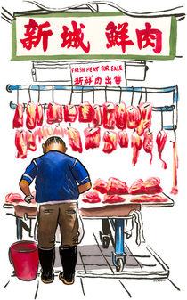 Butcher in Sheung Shui street market, Hong Kong. by Michael Sloan