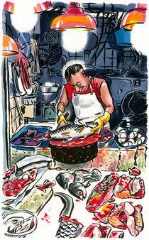 Fishmonger in wet market, Tai Po market, Hong Kong, Hong Kong. by Michael Sloan