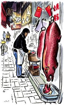 Butcher at Tai Po market, Hong Kong.  von Michael Sloan