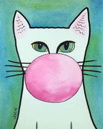 Bubble Gum Cat in Blue von Jo Claire Hall