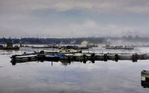 Early Morning Scene At A Fishing Village von John Bailey