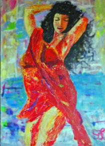 """""""Tänzerin in der Stadt"""" Acrylbild 60x90 von Silvia Kafka"""