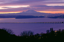 Lake Washington And Mount Rainier Sunrise by Jim Corwin