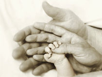 Newborn baby hand in parents hands von Söndra Rymer