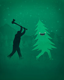 Funny Cartoon Christmas tree is chased by Lumberjack / Run Forrest, Run! von badbugsart