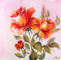 Beautiful roses, oil painting on canvas von valenty