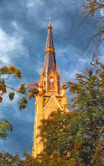 The Steeple Of The Basilica Of The Sacred Heart by John Bailey