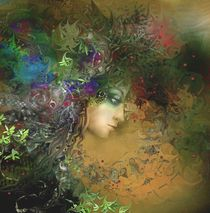 Woman l in a crown of flowers and herbs von Natalia Rudzina